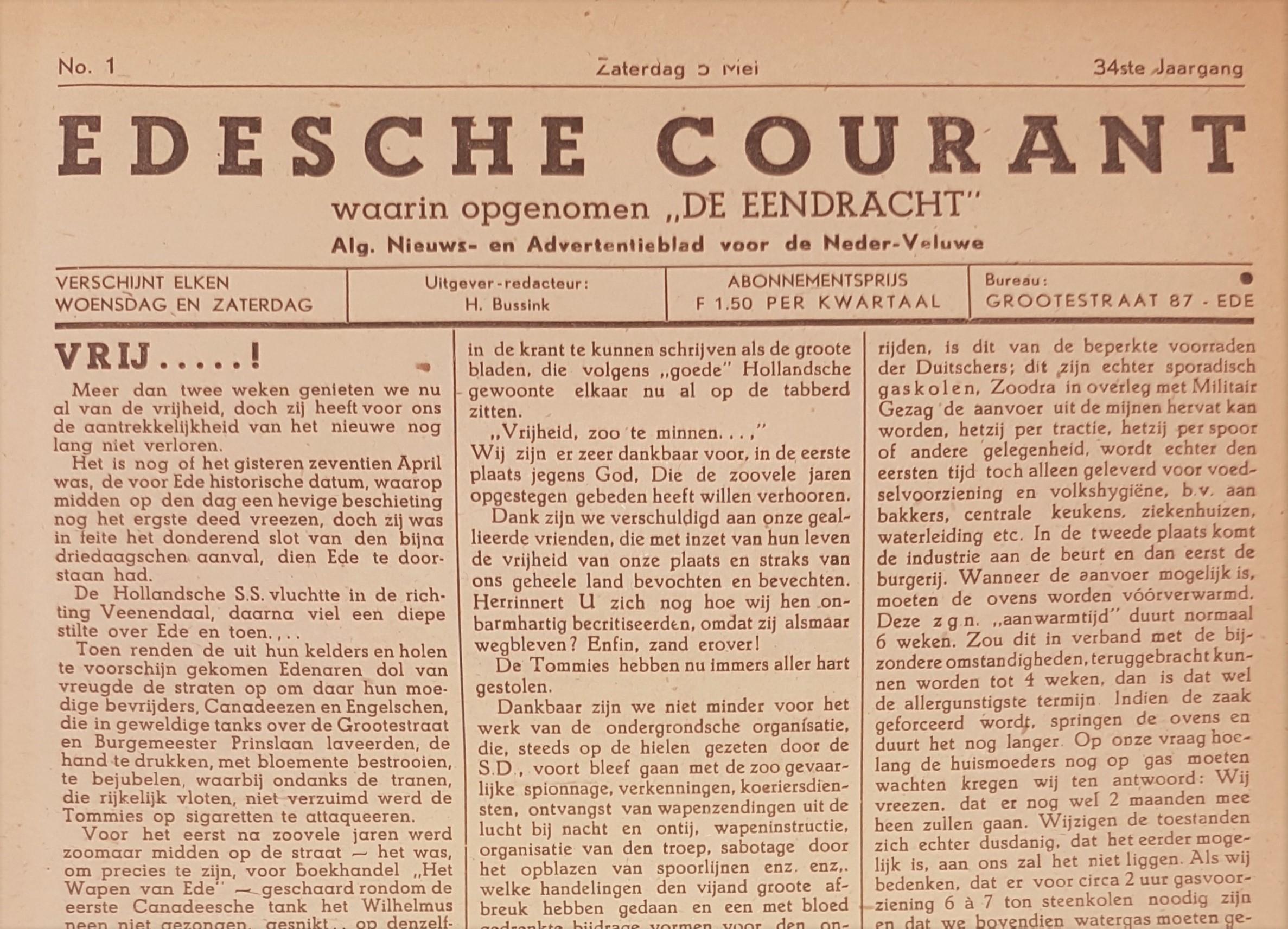 Edese Courant waarin opgenomen de Eendracht 5 mei 1945 uitsnede
