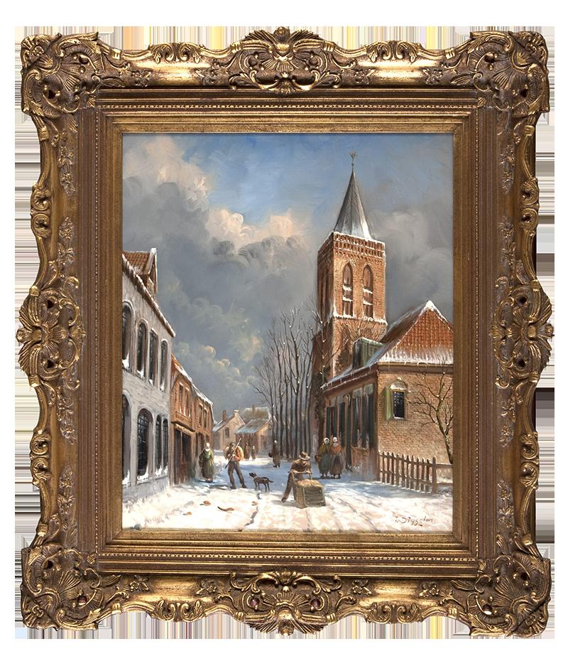 Oud Ede Grotestraat-in-de-Winter-door-J-van-Diggelen